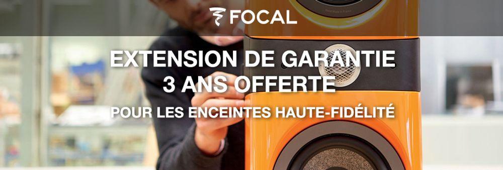 Pour tout achat d'une ou plusieurs enceintes haut de gamme de la ligne « collection classique » concernées par l'offre, Focal vous offre une extension de garantie de 3 ans. Cette offre est valable jusqu'à 3 mois après votre achat. Consultez les modalités complètes de l'offre.