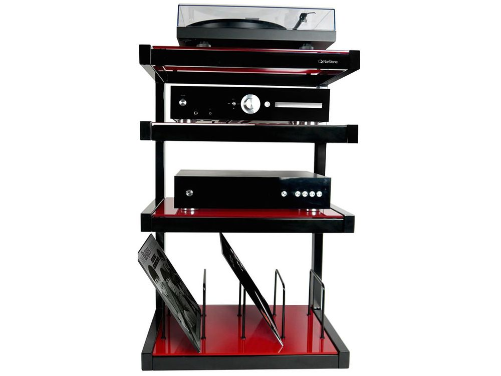 norstone esse hifi vinyl noir rouge meubles hi fi. Black Bedroom Furniture Sets. Home Design Ideas